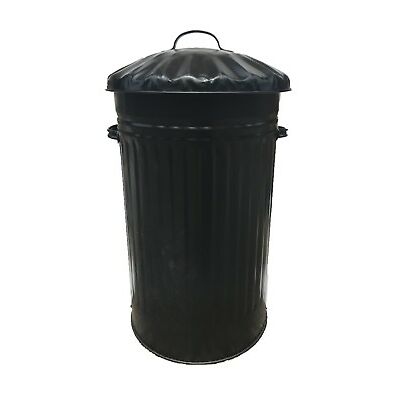 45L METAL BLACK BIN, WASTE BIN, RETRO, VINTAGE, DUSTBIN, HORSE PET FEED TRASH