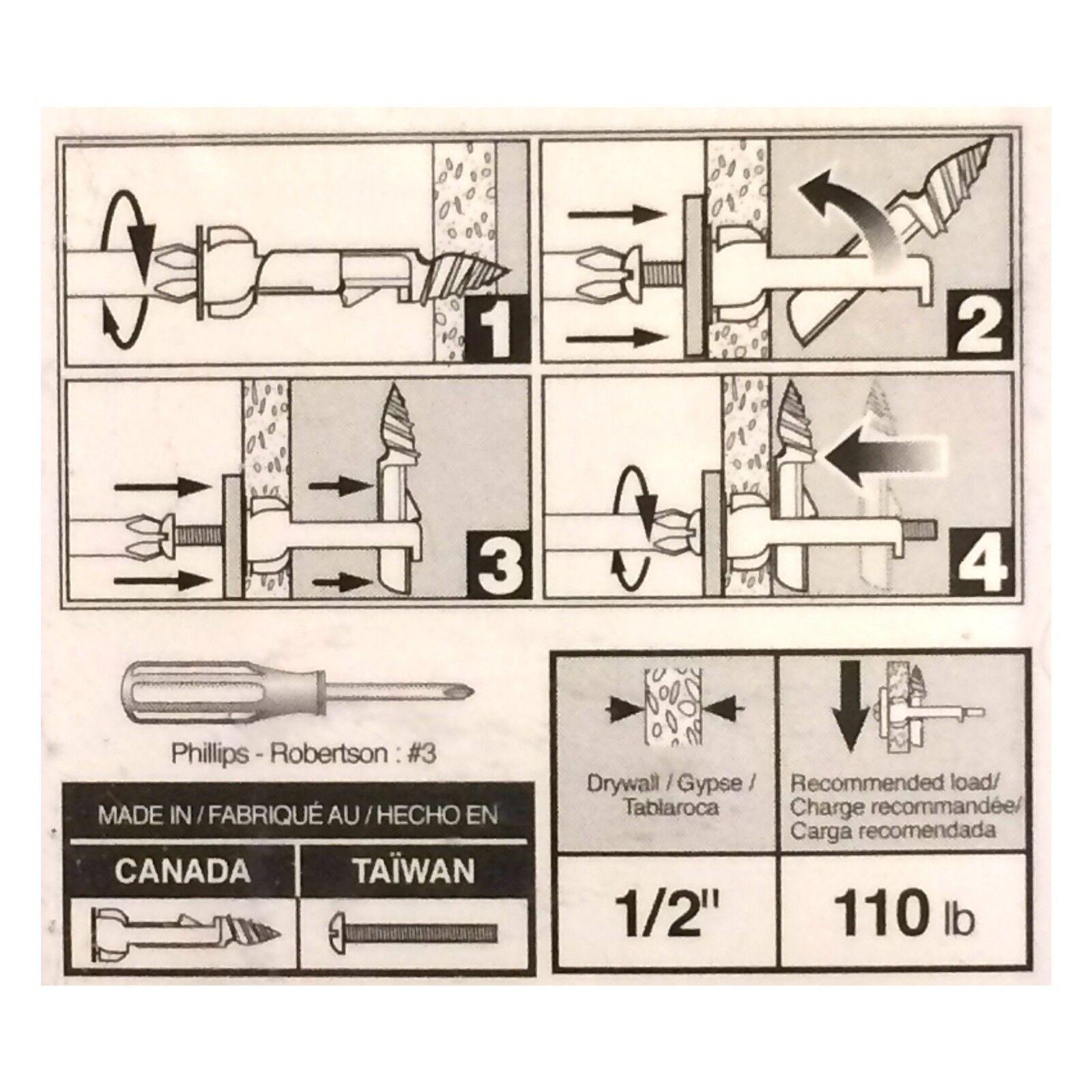 Glass 2//Card Hillman Toggle Bolts 1//8  X 2  50 Lb