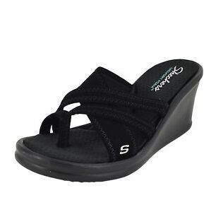 Buy Women Skechers Young at Heart 38465 Black Open Toe Wedge Sandal ... dc98b73ff