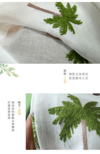 modern pastoral white coconut tree curtain embroidery sheer curtain tulle M368