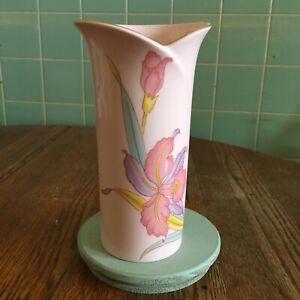Vtg-Pink-Floral-Vase-Japan-Gold-trimmed-flower-beautiful-shape-multi-color-iris