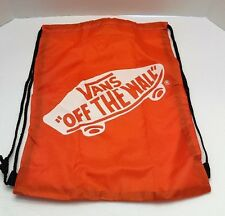 Vans Off The Wall Orange Drawstring School Gym Sack Bag Tote Travel Duffle New