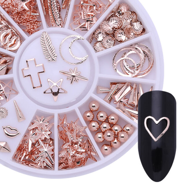 Rose Gold 3D Nail Art Decorations Starfish Shell Theme in Wheel Nails Tips