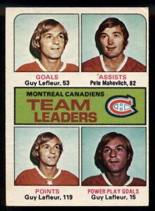 1975-76-OPC-O-PEE-CHEE-322-GUY-LAFLEUR-LEADERS-EX-NM-MONTREAL-CANADIENS-HOCKEY