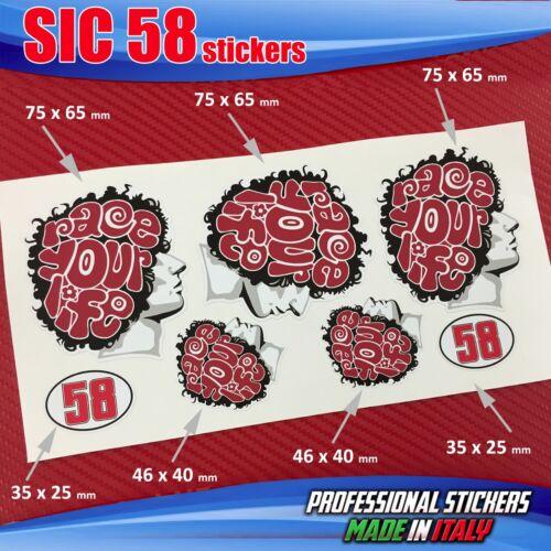 Set Nr 7 Aufkleber Sic 58 Simoncelli Race Ihre Life Kopf Red SIC1