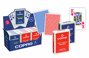 12-Copag-Plastik-Pokerkarten-Jumbo-Face-Rot-Blau-2-Pips-Kartenspiele-Frobis