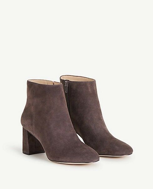 New with Box Ann Taylor Eden Suede Heeled Booties Size 6