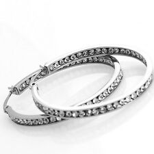 Ladies Stainless Steel High Polish Channel Set White CZ Stone Hoop Earrings