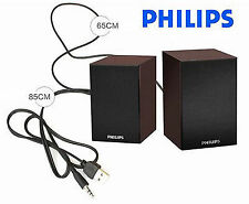 Philips 2.0 laptop, speakers in wood USB  powered 3.55 mm jack, FREE SHIPPING