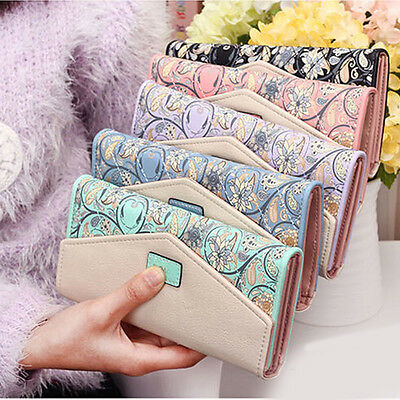 1Pc Women Fashion Wallet Card Holder Handbag Long Purse Faux Leather Clutch Bag
