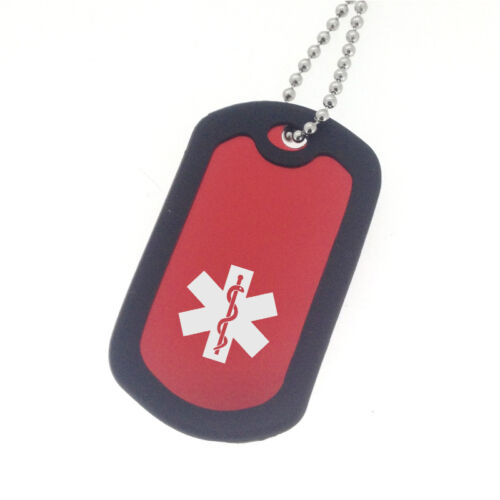 EPILEPSY SEIZURES Medical ID Dog Tag Necklace Red