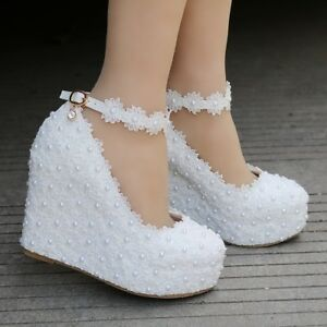 Details About Women White Lace Wedge High Heel Wedding Pumps Shoes Round Toe Bridal Shoes Plus