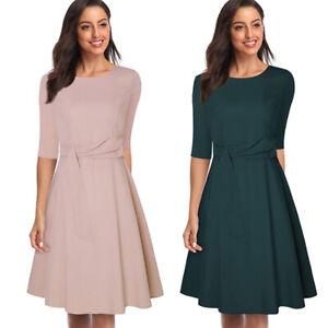 Women Retro Solid Elegant Ladies 3/4 Sleeve Casual Formal Evening Swing Dresses