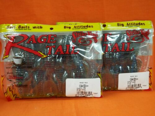 "2 pk 9 cnt #RGBUG-108 BLUE CRAW STRIKE KING Rage Tail 4/"" STRUCTURE BUG"