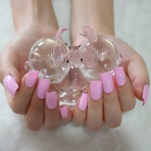 Image Is Loading 24pcs Kit Long Candy Fake Nails Light Princess