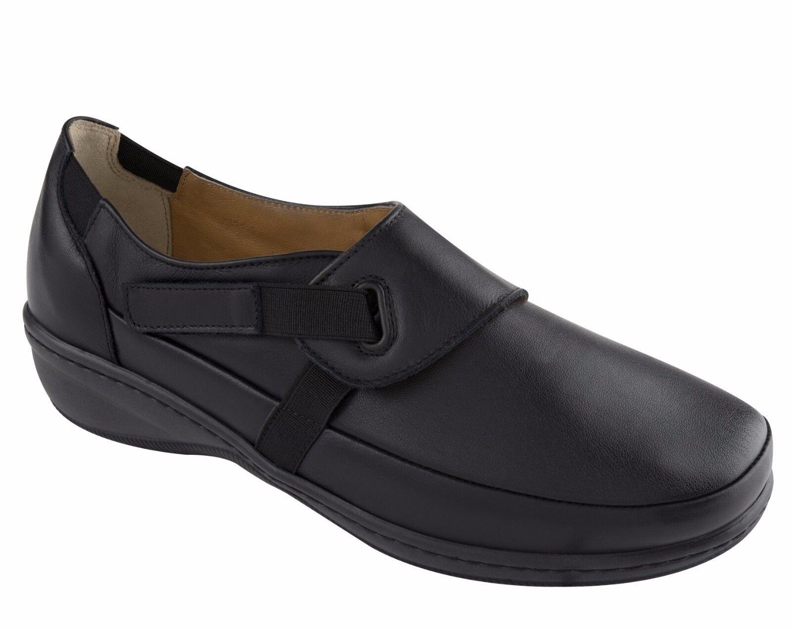 SCHOLL LEVI Removable BioPrint scarpe ginnastica donna mocassino scarpe da ginnastica scarpe pelle nero velcro 2891f8