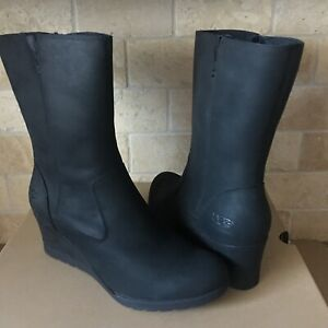 c1bb952becf Details about UGG Joely Waterproof Black Leather Fur Wedge Short Boots Size  10 Womens