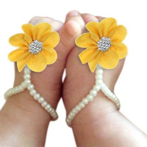 Newborn Infant Baby Girl Flower Crib Barefoot Ring Sandals Pearl Pearl Shoes