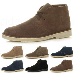 Mens-lace-up-rubber-sole-suede-ankle-chukka-desert-boots-classic-shoes-size