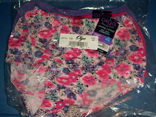 Olga Nylon 3 Brief Without A Stitch Pink Purple Blue Flower Size 8 XL Panties