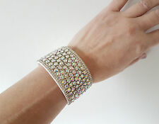 STUNNING! 4cm wide white & AB sparkly diamante - crystal wrap - cuff bracelet