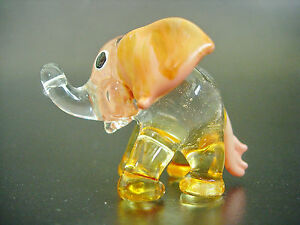 Glass-ELEPHANT-Orange-Glass-Ornament-Glass-Animal-Gift-Blown-Glass-Figure