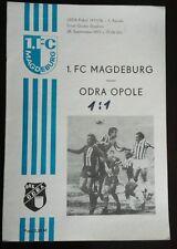 Programm 1.FC Magdeburg Odra Opole Uefa Cup 1977 DDR Oberliga FCM program Polska
