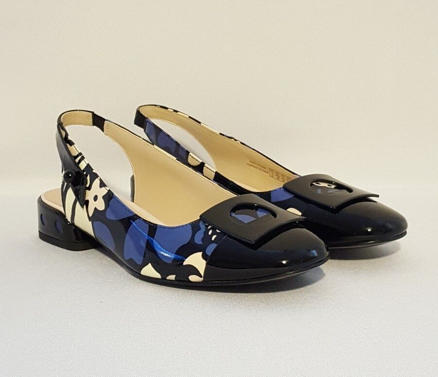 CLARKS SWIXTIES POP FLORAL PURPLE BLACK PATENT LEATHER LADIES SLINGBACKS Schuhe