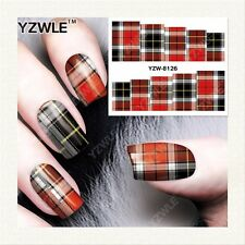 Full Wrap Water Transfers Nail Art Stickers Decals Red Tartan Patterned (8126)