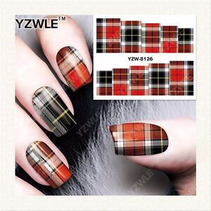 Full-Wrap-Water-Transfers-Nail-Art-Stickers-Decals-Red-Tartan-Patterned-8126