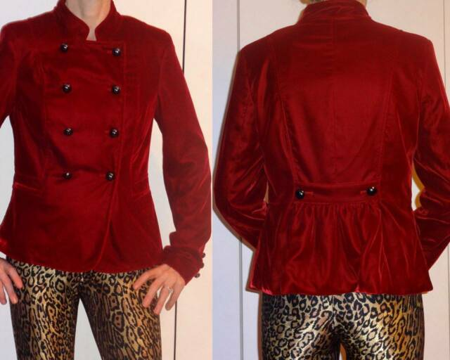 US$168 CACHE BURGUNDY RED VELVET CROPPED JACKET MILITARY BUTTONS 6? 2 4 XS