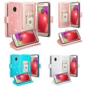 timeless design f7415 eb124 Details about Motorola Moto E4 Case, Glitter Shine Premium Wallet Case  Cover for Moto E 4