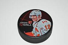 JAROME IGINLA Calgary Flames PLAYER PHOTO PUCK 2013 NEW #12 Souvenir In Glas Co.