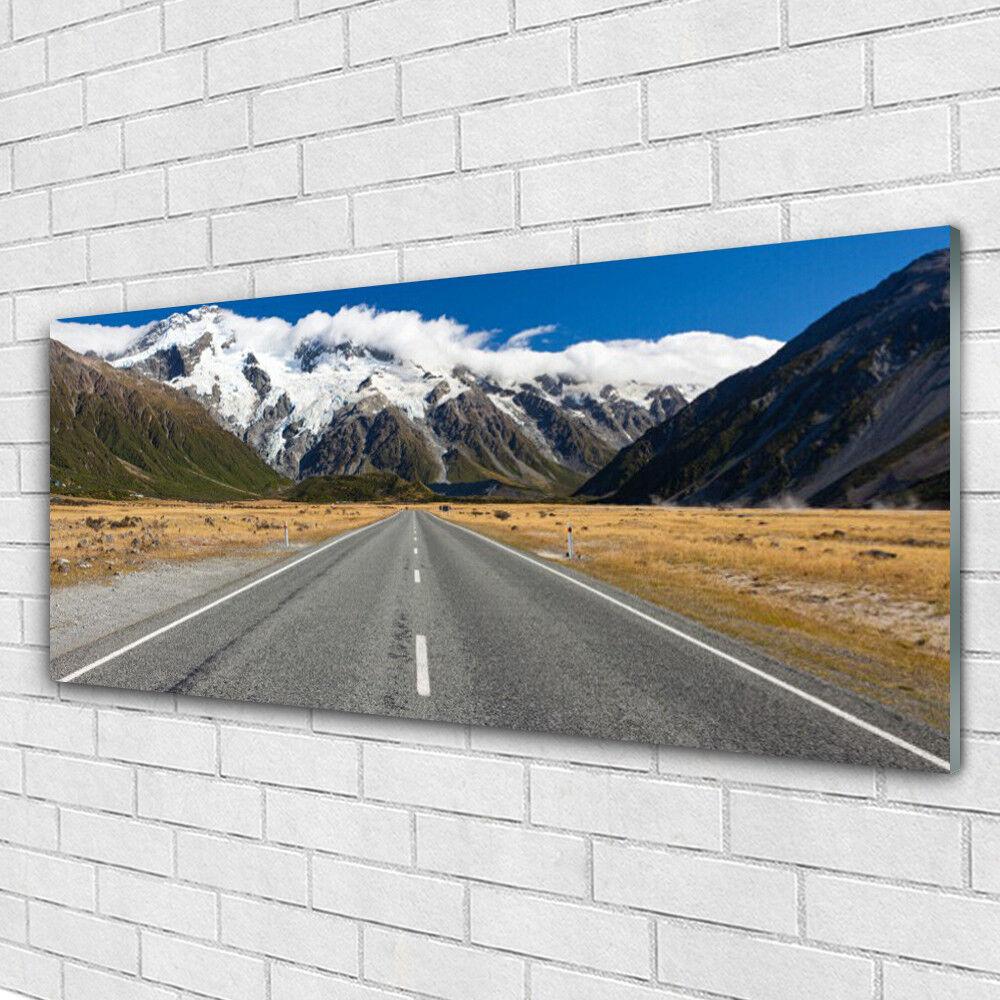 Impression sur verre Image tableaux 125x50 Paysage Rue Montagnes Neige