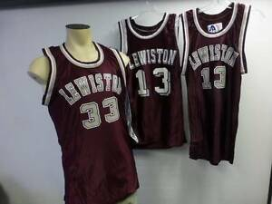 Lot of 3 game worn Lewiston Tigers #33 #13 Basketball Jersey maroon 2 Medium 1 L