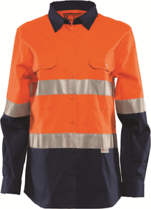 Workhorse WOMEN'S HI-VIS VENTED SHIRT WSH061 orange Navy- Size 6, 8, 10 Or 14