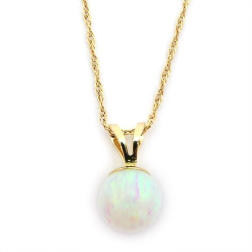 14k Yellow//White Gold 8mm White Simulated Opal Pendant Necklace
