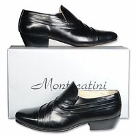 Mens Black Leather Cuban Heel Slip On Shoes Size Uk 6 7 8 9 10 11 12