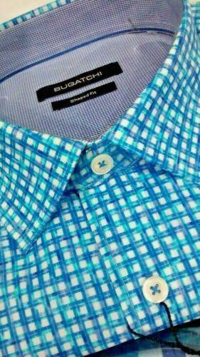 pintado hombre Bugatchi cheque manga con botones Camisa Shapedfit Nwt larga para de geo naqPxqz