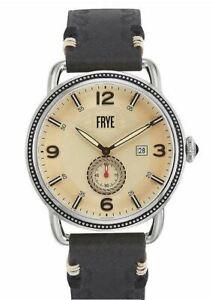 Frye Weston Cream Dial Men's Watch 37FR00018-03 47mm Leather Strap New