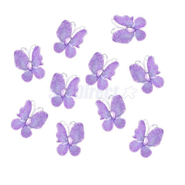 50 Glitter Rhinestone Stocking Butterfly Wedding Decor