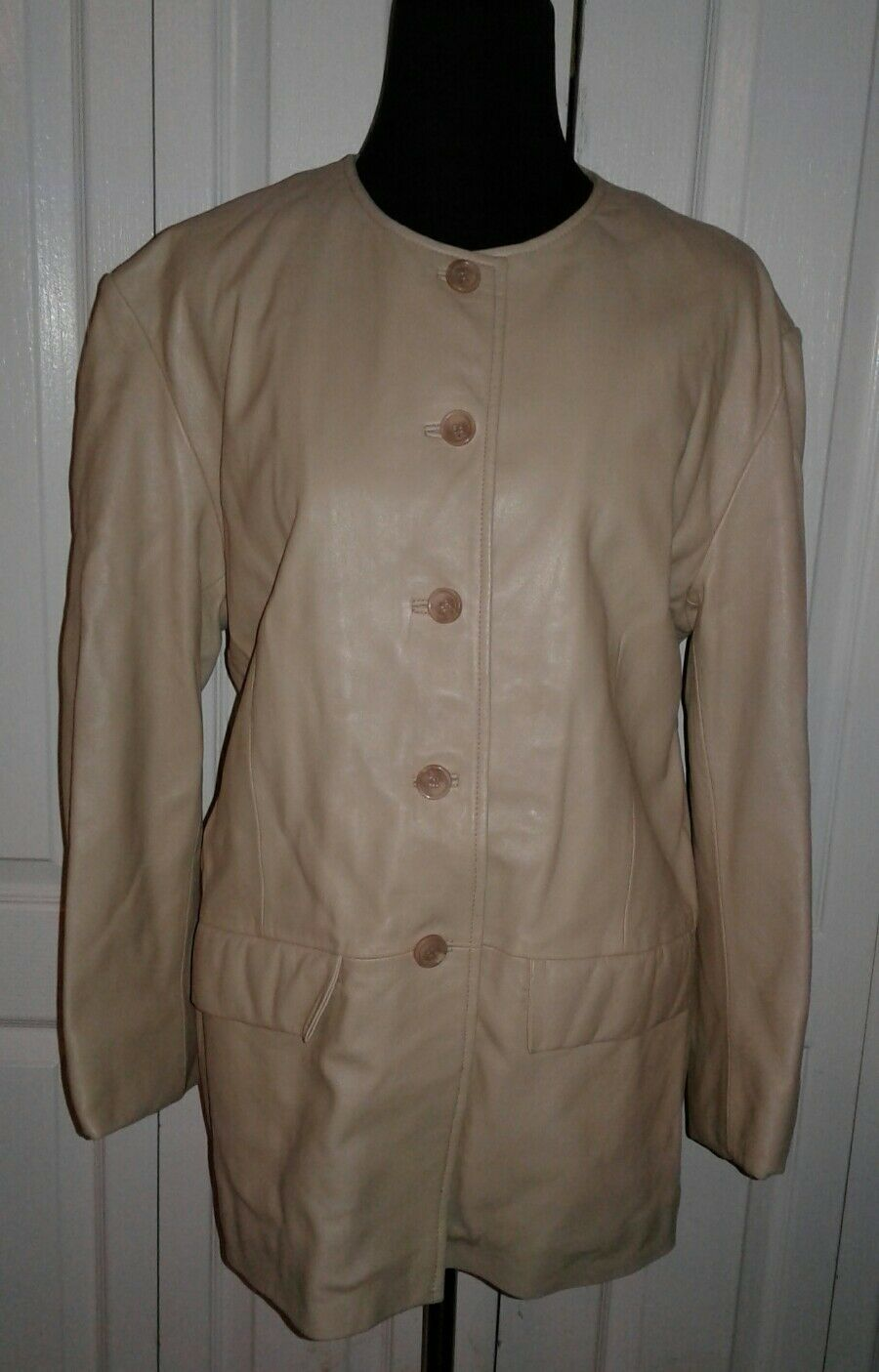 New Lucien Piccard Beige Genuine Leather Coat XL