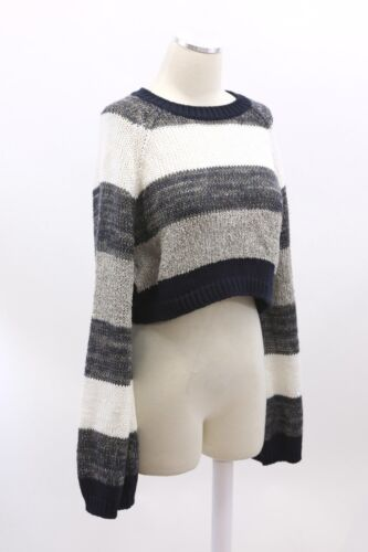 NWT$1495 Brunello Cucinelli Chunky Sequin ColorBlock Striped Cropped Knit M A186