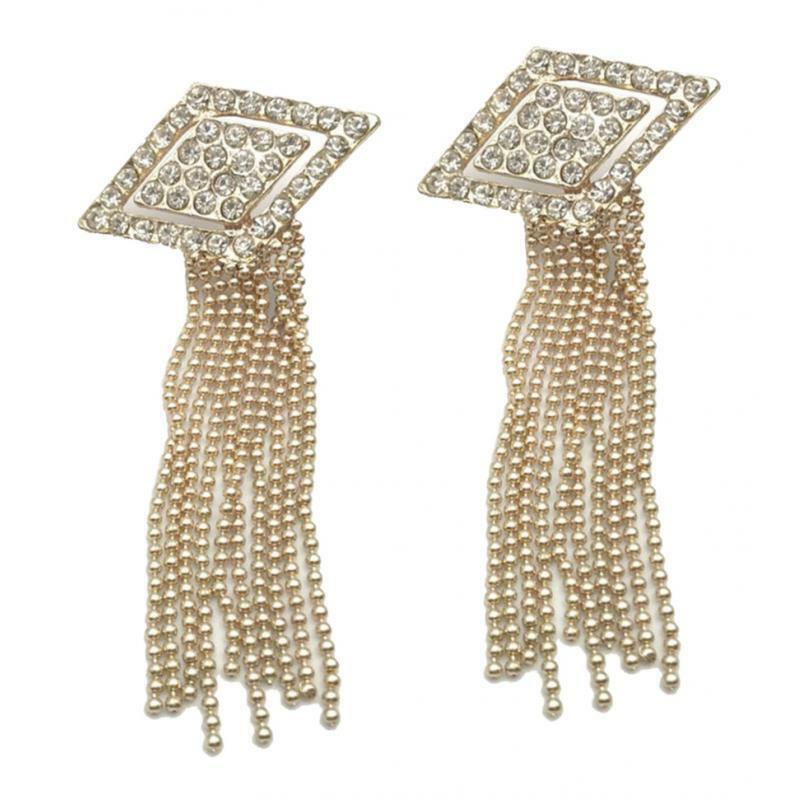 Pair Of Rhinestone Shoe Clip Diamante Tassel Charms Rhombus Shoes Decoration