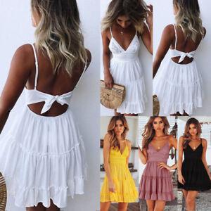 AU-Boho-Women-Summer-Mini-Dress-Strappy-V-Neck-Holiday-Beach-Party-Lace-Sundress
