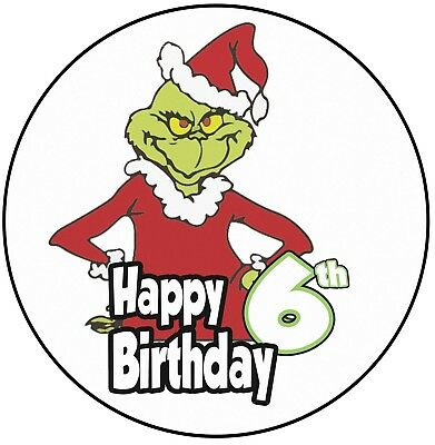 """Kitchen, Dining & Bar Conscientious Grinch Themed 6th Birthday Cake Topper 8"""" 20cm Round Icing Decoration Boys Girls"""