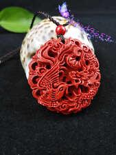 Chinese Natural Red Organic Cinnabar Dragon Phoenix Pendant Lucky Amulet Hot