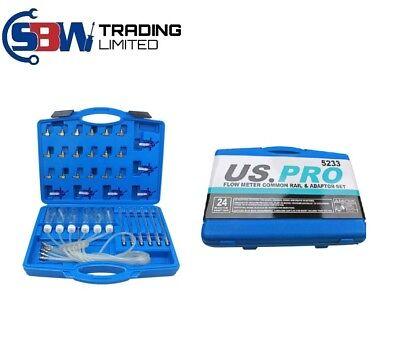 US PRO Flow Meter Common Rail Adaptor Set Diesel Spill Injector Tester Tool 5233
