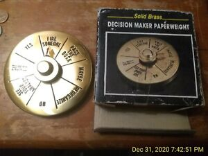 Vintage-Solid-Brass-Executive-Decision-Maker-Spinner-4-Diameter-with-Box-Yes