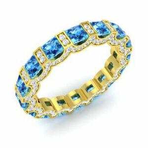 3.88 Ct Certified Diamond Blue Topaz Band 14K Yellow Gold Gemstone Ring Size M J